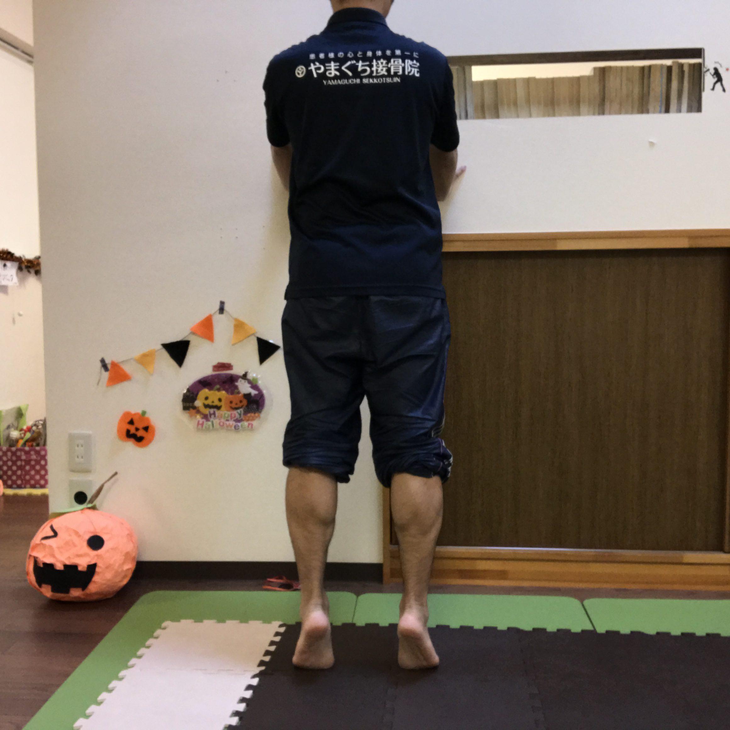 足を肩幅び開いて、つま先をまっすぐ前に向けて立つ。 ゆっくりカカトを上げ下げ。カカトを下げた時に地面につけないように浮かせたままにします。